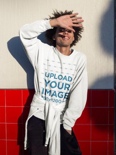 Crewneck Sweatshirt Mockup of a Man Having Fun on the Street 18344