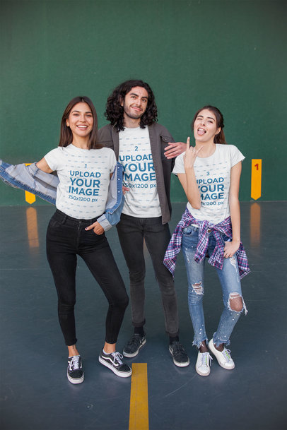 T-Shirt Mockup of Three Friends at a Sports Court 25229