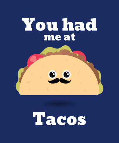 Cute Valentine's Day T-Shirt Design Maker with Taco Graphics 1037b