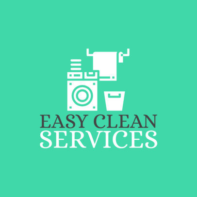 Clean Service Logo Template with Laundry Graphics 1775b