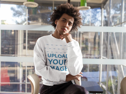 Crewneck Sweatshirt Mockup of a Pensive Man with Curly Hair 18342