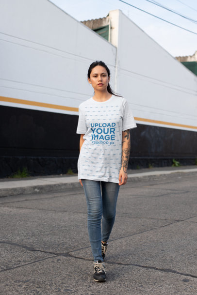Unisex Tee Mockup Featuring an Edgy Girl on the Street 25279