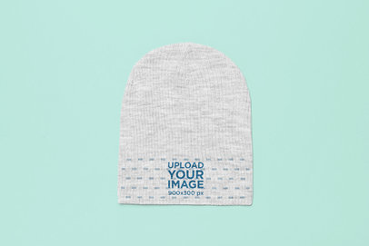 Flat Lay Heather Beanie Mockup 24635