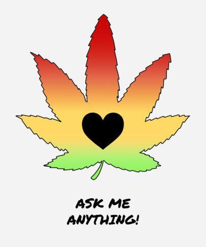 Gradient Marijuana T-Shirt Design Template 1060a