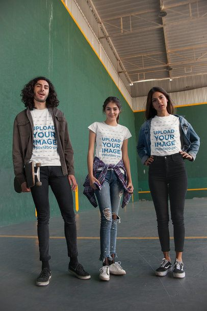 T-Shirt Mockup of a Group of Three Friends at a Fronton Court 25233