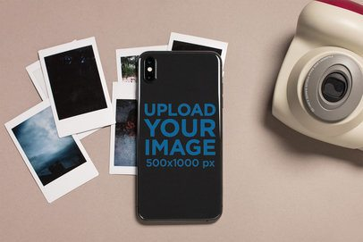 Mockup of a Phone Sticker Surrounded by Polaroids 25206
