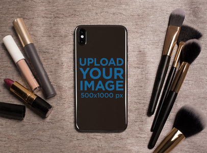 Sticker Mockup of a Phone Surrounded by Makeup Tools 25208