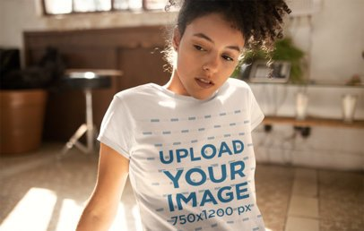 Tee Mockup Featuring a Woman with a Kinky Curly Ponytail 24282