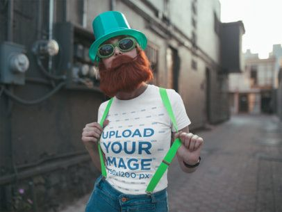 Mockup of a Woman Wearing a Cute Tee on St. Patrick's Day 19566