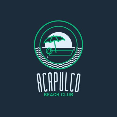 Bar Logo Design Template for a Beach Club 1760b