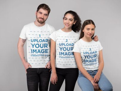 T-Shirt Mockup Featuring Three People in a Studio 25692