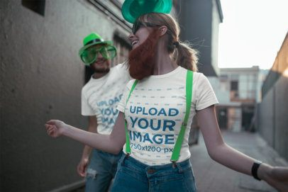 T-Shirt Mockup of Two Friends Celebrating St Patrick's Day 19568