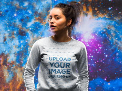 Sweatshirt Mockup of a Girl Against an Outer Space Background 18755