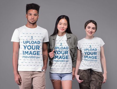 Tshirt Mockup of Three Friends at a Studio 25710