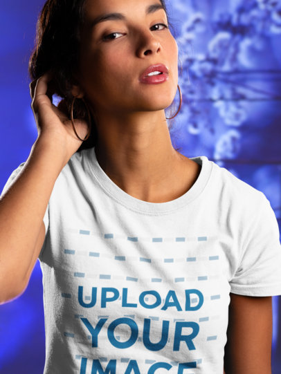 Round Neck Tee Mockup of a Woman Touching her Hair 18589