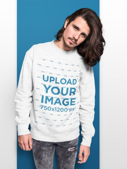 Sweatshirt Mockup Featuring a Long Haired Man with a Colored Background 18521