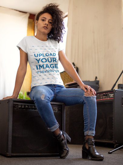 Tshirt Mockup of a Girl with Curly Hair 24285