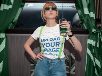 St Patrick's Day Mockup of a Cool Woman Having a Drink 19574