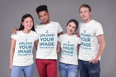 Mockup of a Group of Four Friends Wearing T-Shirts 25704
