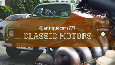 YouTube Banner Template for a Classic Car Channel 1073b