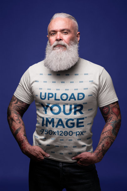 T-Shirt Mockup of an Edgy Bearded Senior 23378