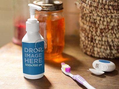 Label Mockup Featuring a Liquid Soap Dispenser in a Bathroom a6859