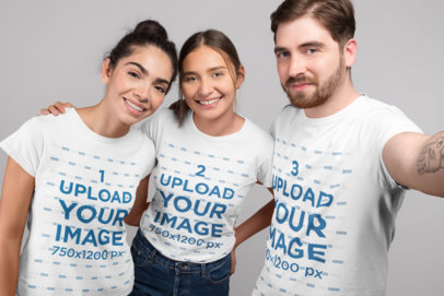 Selfie Mockup of Three Friends Wearing Tshirts at a Studio 25699
