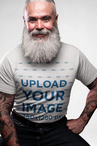 T-Shirt Mockup of a Senior Man with a Big Beard 23383