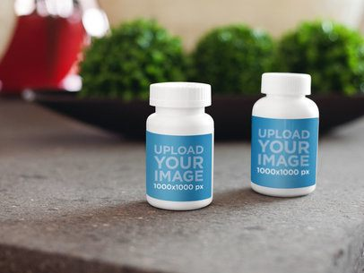 Label Mockup Featuring Two Medical Containers on Top of a Table a5867