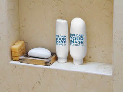 Label Mockup of a Plastic Conditioner and Shampoo Bottles in a Shower a7157