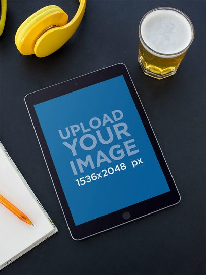 iPad Mockup for Podcasts Featuring a Relaxing Co-Working Space 24720
