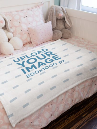 Blanket Mockup Featuring a Cute Pink Bedroom 24686