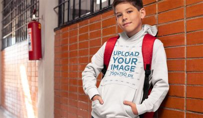 Mockup of a Young Student Wearing a Hoodie at School 24836