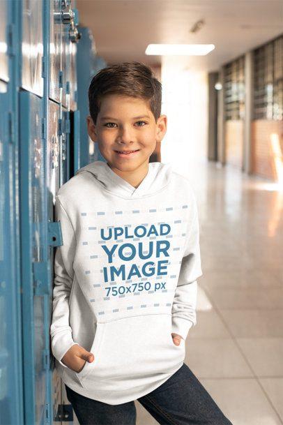 Hoodie Mockup of a Boy Standing by his Locker at School 24835