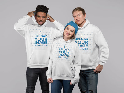 Mockup of a Group of Three Friends Wearing Hoodies 25716
