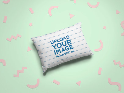 Mockup of a Pillow Surrounded by Fun Cut Out Shapes 24968