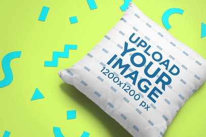 Mockup of a Pillow over a Background with Cool Shapes 24957