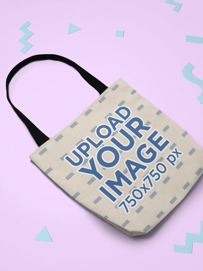 Tote Bag Mockup Lying over a Plain Surface with Geometrical Shapes  24964