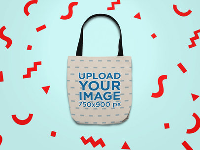 Mockup of a Tote Bag Surrounded by Cut Out Paper Shapes 24958