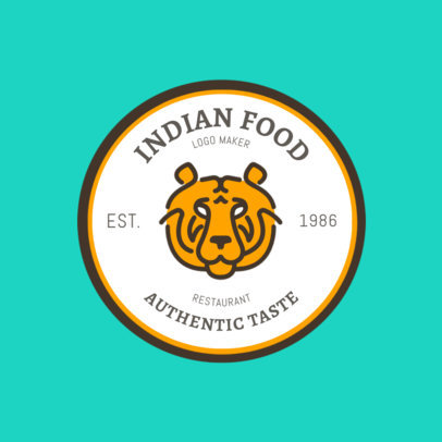 Indian Food Logo Maker with Tiger Clip Art 1827