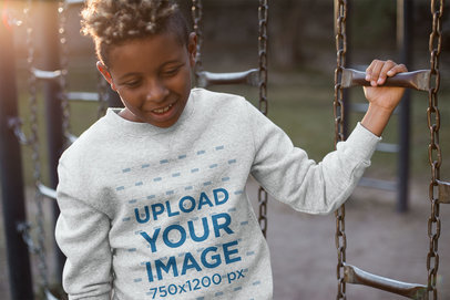 Heather Crewneck Sweater Mockup of a Child at the Playground 24948