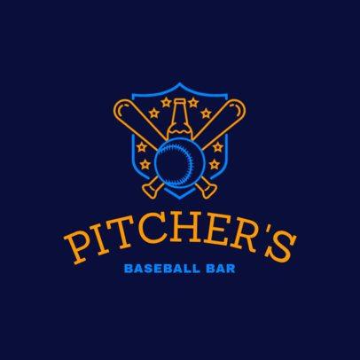 Bar Logo Maker with Baseball Emblem in Neon Lights 1687b