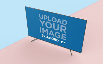 Mockup of a TV with a Geometric Background 26126