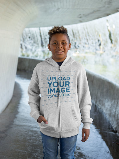 Full Zip Hoodie Mockup Featuring a Kid in a Tunnel 24942