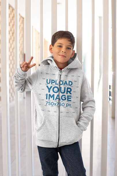 Full Zip Hoodie Mockup of a Kid at School 24849