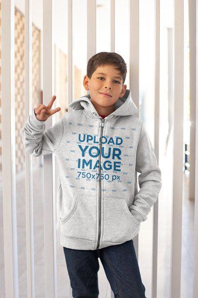Full Zip Hoodie Mockup of a Kid at School 24849