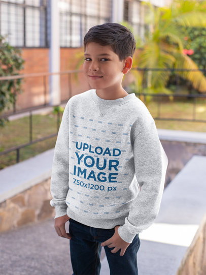 Mockup of a Kid Wearing a Heathered Crewneck Sweatshirt at School 24843