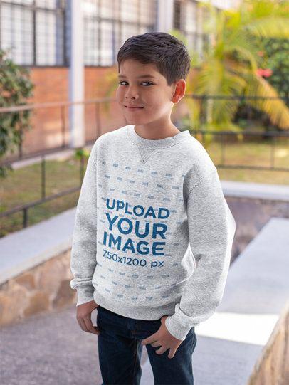 Mockup of a Kid Wearing a Heathered Crewneck Sweatshirt at School 24843