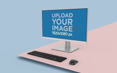 Desktop PC Mockup Featuring a Digital Geometric Setting 26134