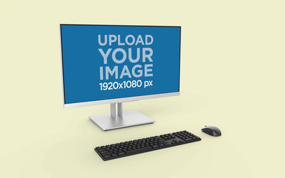 Desktop PC Mockup in a Minimalistic Solid Color Background 26135
